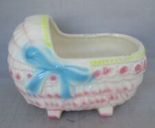 Vintage Ceramic Baby Bed Bassinette Planter White with Pink ruffles  & Blue bow
