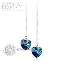 Ocean Blue Crystal Heart Long Drop Earring/925 Sterling SilverRGE098S