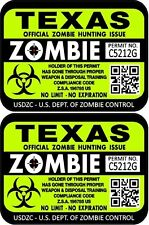 Prosticker 1253 Two 3x 4 Texas Zombie Hunting License Decal Sticker