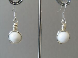 Pure White Jade  Wrapped Silver Wire Small Drop Sterling Silver Earrings Nice!