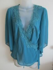 ROCKMANS size 8  Gorgeous Sea Green Tone - Sheer 3/4 Sleeved  Cross Over Top