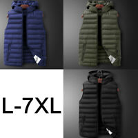 Men Puffer Waistcoat Quilted Padded Hooded Gilet Winter Warm Soft Sleeveless Top