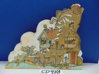 PAINTED 1970'S ART BY HUNTER CUT WOOD 3 STORY HOUSE KIDS PLAYING HIPPIE FOLK