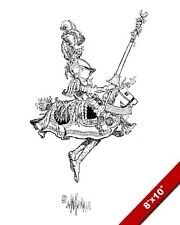 JOUSTING KNIGHT ON PLAY HORSE W. HEATH ROBINSON PAINTING ART REAL CANVAS PRINT