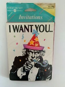 Uncle Sam I Want You At A Party Invitations 8 Cards 8 Envelopes