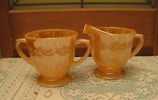 """Fire King"" Peach Lustre Laurel Creamer & Open Sugar Bowl Circa 1950s Anchor"
