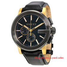 New Gucci G-Chrono Chronograph Yellow Gold Black Leather YA101203 Mens Watch