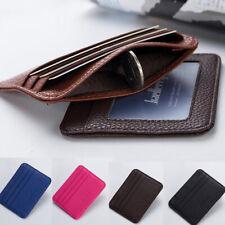 Men's Leather Minimalist Money Clip Slim Wallet ID Credit Card Holder Case Purse