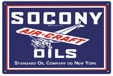 "EMBOSSED Vintage Style Tin Tacker Sign Socony Oil Standard Aircraft 30/"" x 20/"""