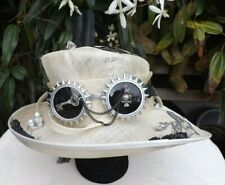 Steampunk Lady, Hand Decorated Vintage Hat Size 56/57, Cream ,One Of A Kind