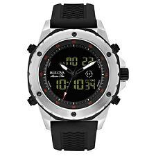 Bulova Men's Marine Star Black Rubber Band Digital Analog Watch 98C119