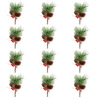 12Pcs Artificial Pine Picks Small Fake Berries Pinecones for Wedding Garden E4D3