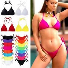 Women's Triangle Bikini Padded Bra Thong Bottoms Cheeky Swimwear Swimsuit V