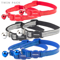 ANCOL GLOSS REFLECTIVE CAT COLLAR Single or TWIN PACK - Fast Delivery
