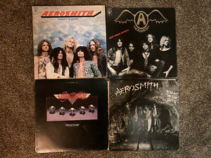 4 Aerosmith Vinyl LP Lot - Self Titled, Get Your Wings, Rocks, Night In The Ruts