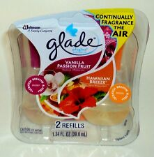 2 Pack GLADE Plugins Scented Oil Refills VANILLA PASSION FRUIT & HAWAIIAN BREEZE