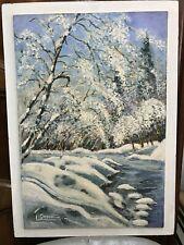 tableau huile sur panneau L Drevet Paysage montagne sous la neige région Isère