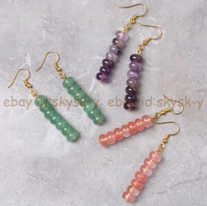 5x8mm Amethyst/Aventurine/Tourmaline Rondelle Beads Dangle Gold Hook Earrings