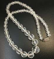 "VINTAGE GLASS BEAD NECKLACE FACETED CLEAR BEADED JEWELRY 17"" LONG UNCLASPED"