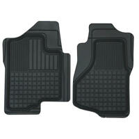 2pc Perfect Fit Heavy Duty Rubber Floor Mats for Chevy Silverado 2007-2014 Black