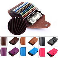 Genuine Leather Wallet Blocking Holder Credit Card Case Men Women Money Pocket K
