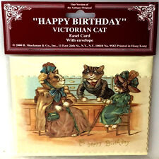 HAPPY BIRTHDAY VICTORIAN CAT CARD w Easel Stand up Display MINT Sealed Shackman