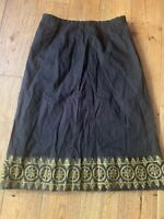New Esprit Womens, Black With Gold Detail Knee High Skirt, Size 8, Unwanted Gif