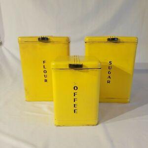 3 Vintage Kreamer Yellow Tin Cannister Set Coffee Flour