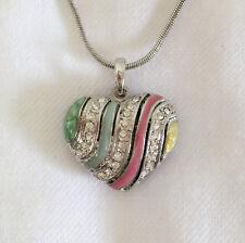 New Stripe Enamel Heart Locket Charm European Silvertone Chain Necklace NE1116