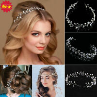 New Pearls Wedding Hair Vine Crystal Bridal Accessories Diamante Headpiece
