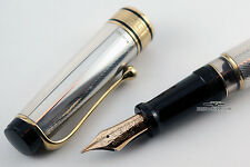 Aurora Optima Sterling Silver Fountain Pen - 14kt Gold Medium Nib
