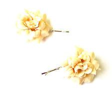 2 x Nude Peach Rose Flower Hair Grips Clips Bridesmaid Bobby Pins Slides 2096