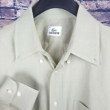 LACOSTE Mens Solid Green Button-Down Shirt Size 40 Medium M