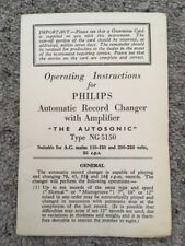 "PHILIPS AUTOMATIC RECORD CHANGER ""THE AUTOSONIC"" NG5150 OPERATING INSTRUCTIONS"