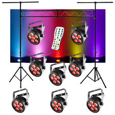 (8) Chauvet DJ Lighting SlimPAR T6 USB Par LED RGB Light w/ Truss & Remote New