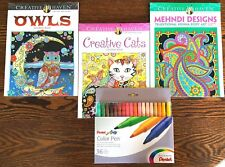 Adult Teen Coloring Kit Owls Cats Mehndi 36 Pentel Fine Point Art Markers
