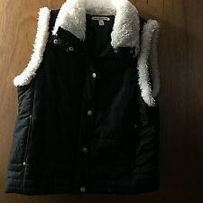 Vest Carolyn Taylor Color Black With Fur Trim Size Large Warm Comfortable