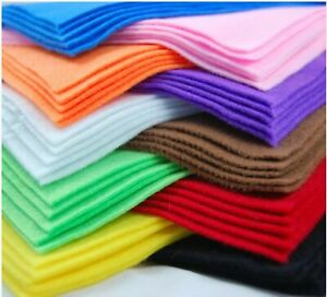 10 Pack A4 Felt Fabric Sheets for Arts and Crafts - RANDOM COLOURS