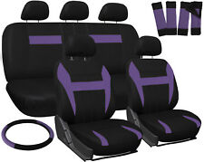 Car Seat Covers Purple Black 17pc Set for Auto Steering Wheel/Belt Pad/Head Rest
