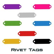 100 Rivet Pet Tags.  Anodized aluminum. Ready to personalize.