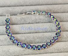 18K White Gold Filled -Blue MYSTICAL Rainbow Round Topaz Pageant Women Bracelet