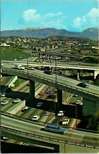 Postcard California Los Angeles Harbor Freeway Old Cars Station Wagon Unposted