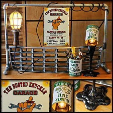 Upcycled Mancave Car Grill Metal Pipes Vintage Oil Cans Wood Handle Cage Light