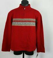 Woolrich Women's Nordic 1/4 Zip Sweater XL 100% Lambs Wool Red Gray Pullover