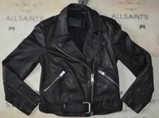 All Saints Braided Wyatt Leather Biker Jacket Size 8 in Black  BNWT £345
