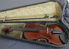 alte 4/4 Geige Violine Koffer Bogen Old Violin with Label spielbereit