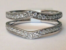 Vintage Diamond Ring Guard Wrap solitaire enhancer White Gold Over Silver
