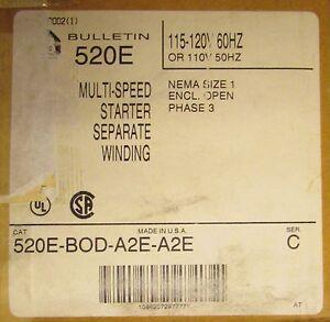 Allen Bradley Size 1 Multispeed Starter 110/120V 520E BOD A2E A2E