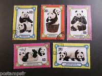 MONGOLIE 1977, LOT 5 timbres THEME ANIMAUX, PANDAS, oblitérés, VF STAMPS