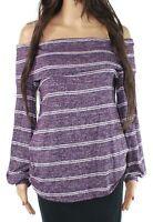Blu Pepper Women Blouse Heather Purple Size Large L Off Shoulder Stripe $44 #570